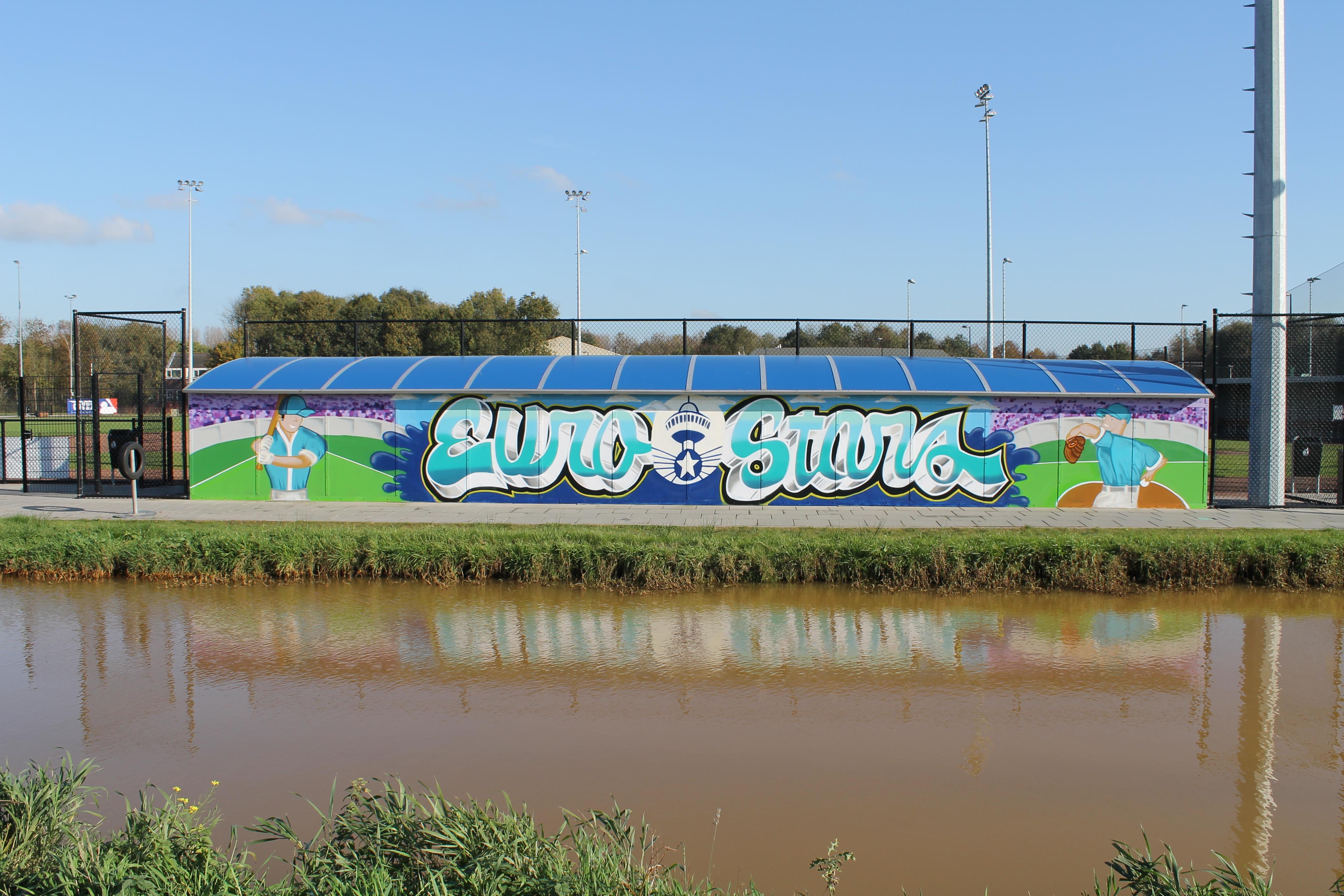 Preventieve Muurschildering Euro Stars Honkbal Graffiti