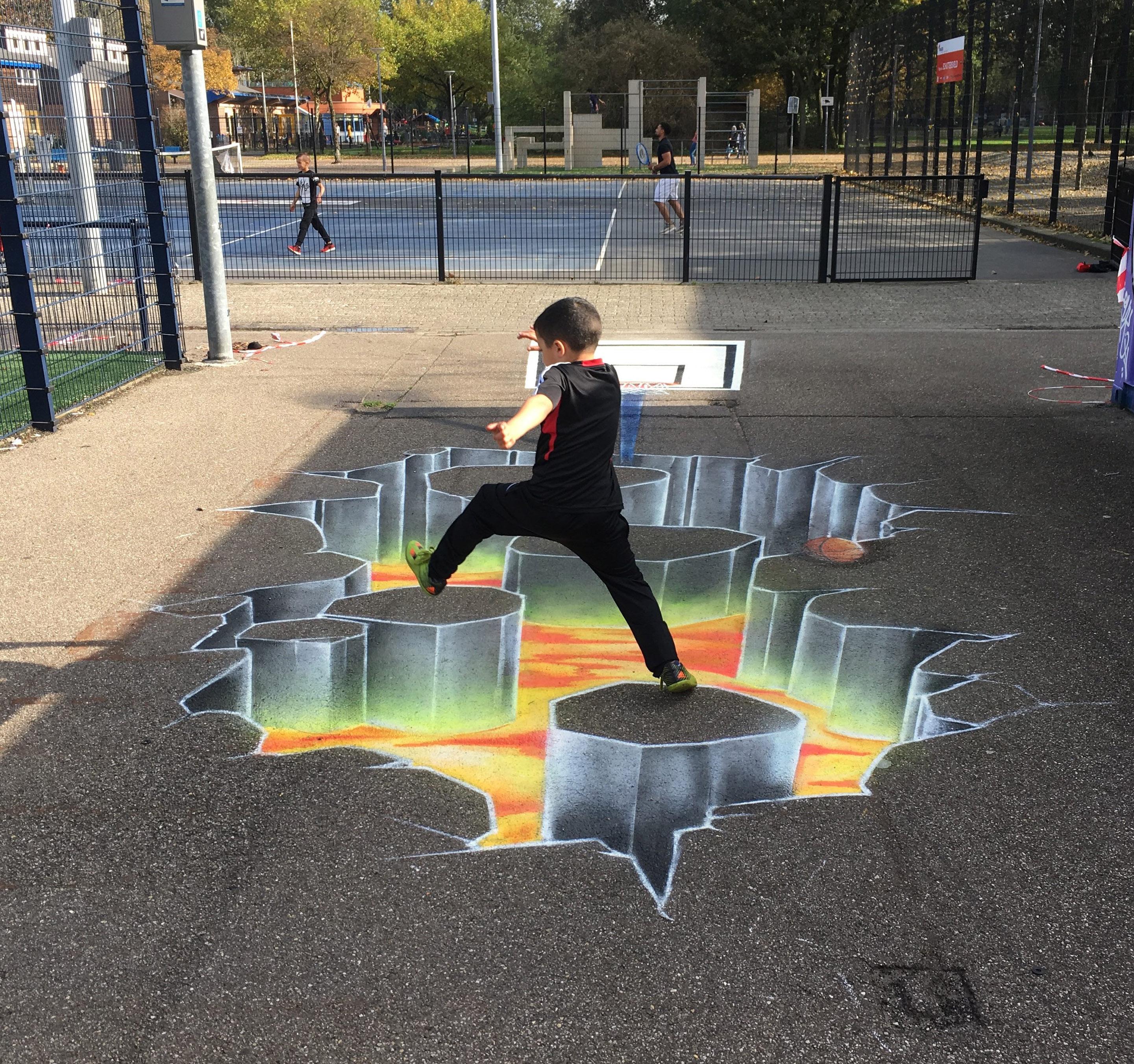 Basketbal Lava 3d grondschildering Graffiti schildering